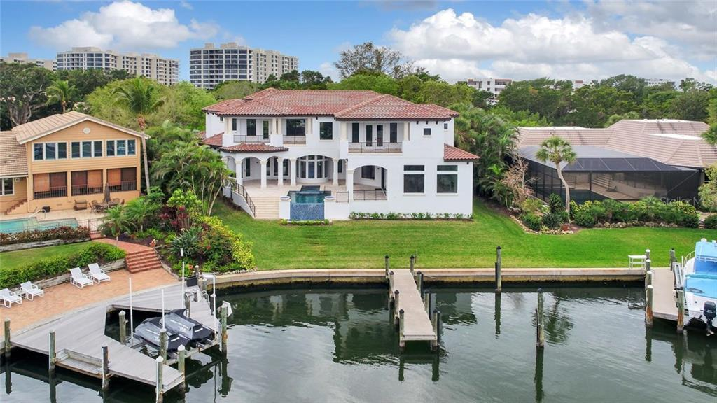Aerial Exterior with dock and boat slip - Single Family Home for sale at 1400 Harbor Sound Dr, Longboat Key, FL 34228 - MLS Number is T2932520