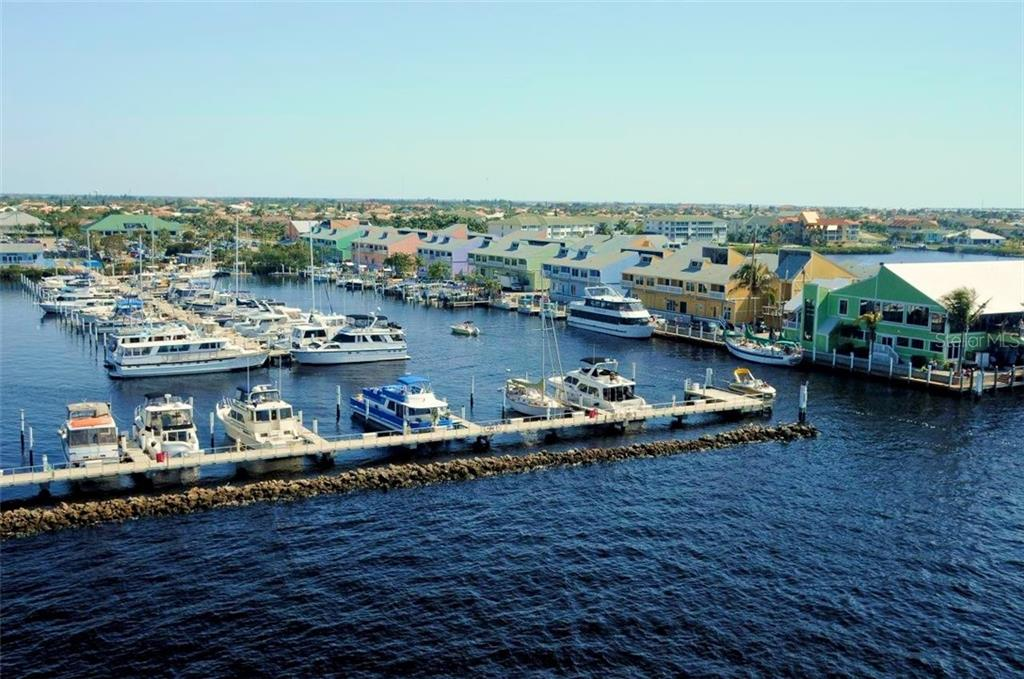 Aerial view of Fisherman's Village in downtown Punta Gorda is comprised of a nice marina, shops and restaurants. - Vacant Land for sale at 3013 Chapman Blvd, Punta Gorda, FL 33950 - MLS Number is C7236430