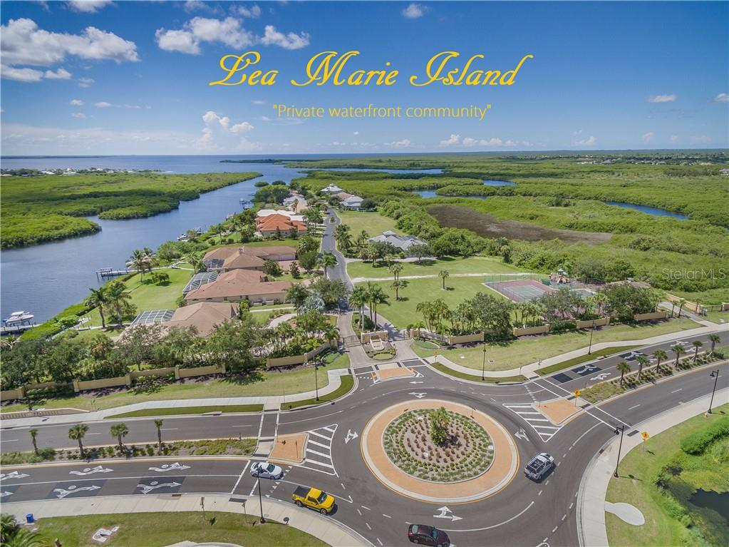 The entrance to Lea Marie Island from Edgewater Drive in Port Charlotte, Florida, showing the East Spring Waterway to the left that leads to the Peace River and Charlotte Harbor, then on to the Gulf of Mexico. - Vacant Land for sale at 4030 Lea Marie Island Dr, Port Charlotte, FL 33952 - MLS Number is C7404124