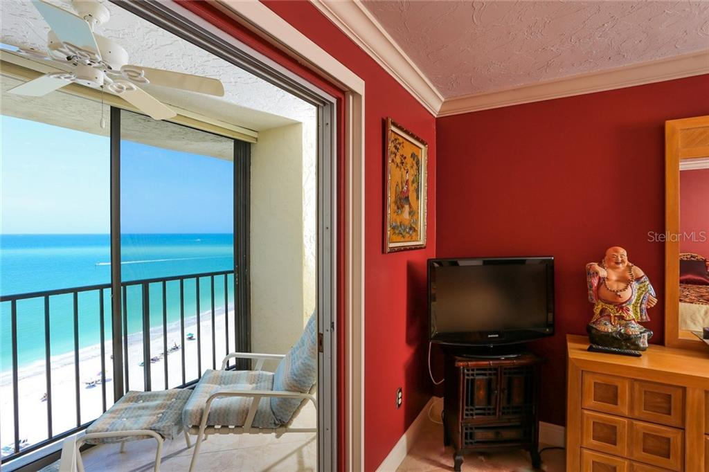 Gulf of Mexico and beach views from Master bedroom - Condo for sale at 20 Whispering Sands Dr #1103, Sarasota, FL 34242 - MLS Number is A4192663