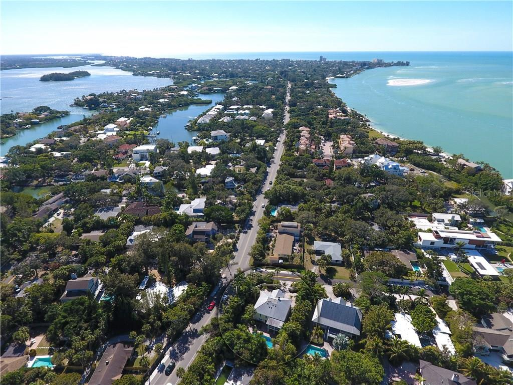 Aerial view looking south/southwest - Single Family Home for sale at 141 Ogden St, Sarasota, FL 34242 - MLS Number is A4208039