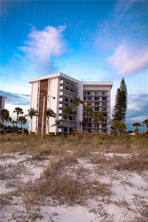 View of Building from the Beach - Condo for sale at Address Withheld, Sarasota, FL 34236 - MLS Number is A4208417