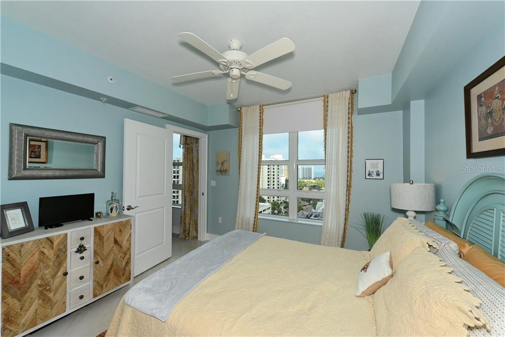 Guest Bedroom with water and city views. - Condo for sale at 1350 Main St #1106, Sarasota, FL 34236 - MLS Number is A4209424