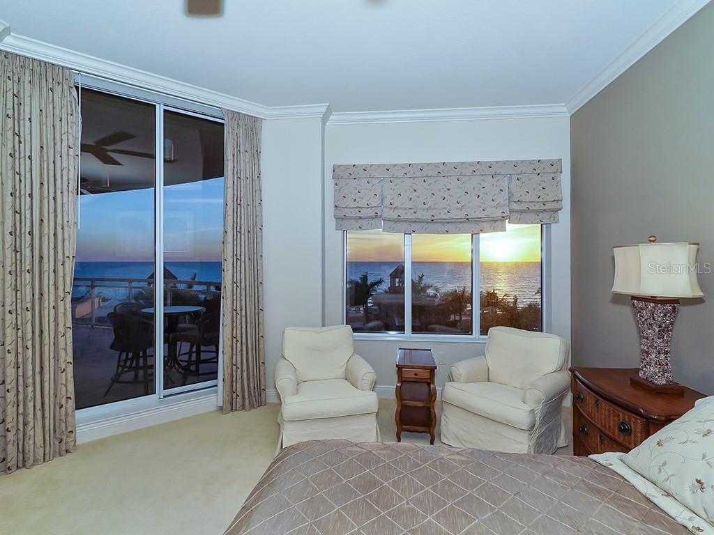 Master Bedroom - Access to Gulf Terrace - Condo for sale at 1300 Benjamin Franklin Dr #603, Sarasota, FL 34236 - MLS Number is A4213631