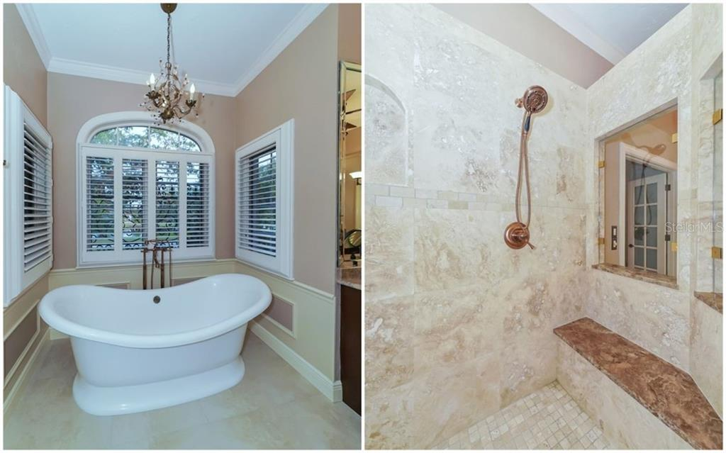 Owner Retreat Bath - Tub and Massive Shower (there are 2 shower heads - 1 on left not shown) - Single Family Home for sale at 2912 Jeff Myers Cir, Sarasota, FL 34240 - MLS Number is A4400164