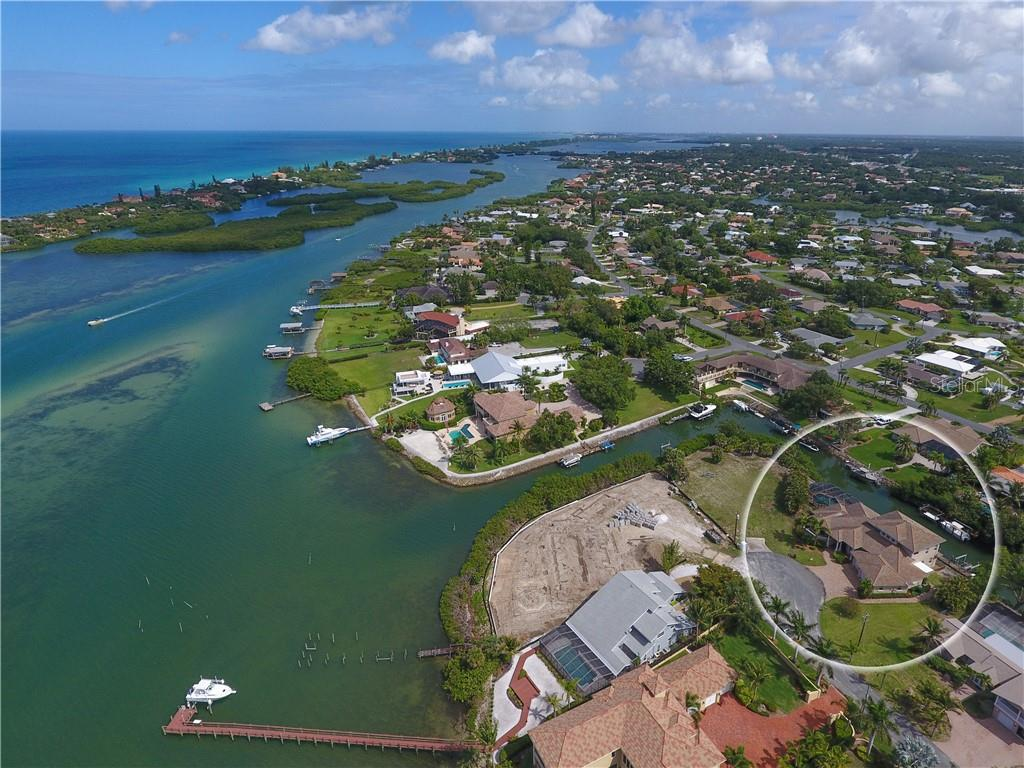 Overhead view of Position on the canal to the inter-coastal waterway - Single Family Home for sale at 432 Sorrento Dr, Osprey, FL 34229 - MLS Number is A4402898