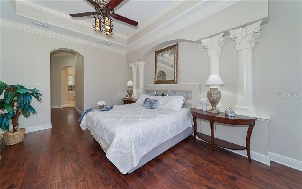 Master Bedroom with custom wall columns and detail - Single Family Home for sale at 540 Fore Dr, Bradenton, FL 34208 - MLS Number is A4406084