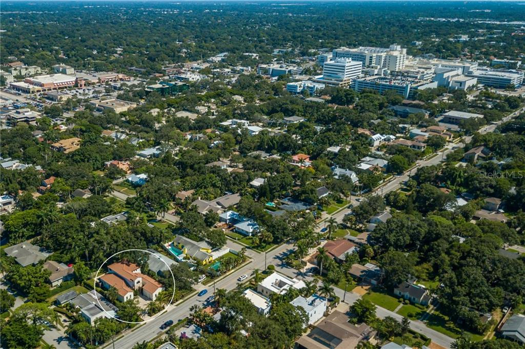Aerial towards Southside Village & SMH - Single Family Home for sale at 1019 S Osprey Ave, Sarasota, FL 34236 - MLS Number is A4415337