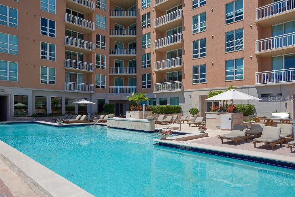 Pool is perfect for swimming laps. - Condo for sale at 1350 Main St #1406, Sarasota, FL 34236 - MLS Number is A4418200