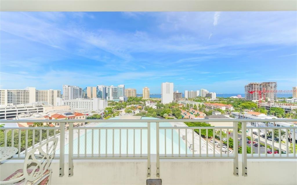 Aerial view of the pool - Condo for sale at 100 Central Ave #f1014, Sarasota, FL 34236 - MLS Number is A4428676