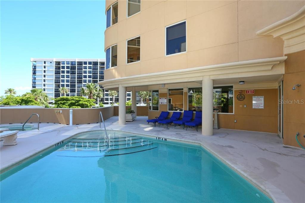 Heated Pool and Spa with ample lounging space on the 3rd level to offer great vistas!! - Condo for sale at 128 Golden Gate Pt #902a, Sarasota, FL 34236 - MLS Number is A4433296