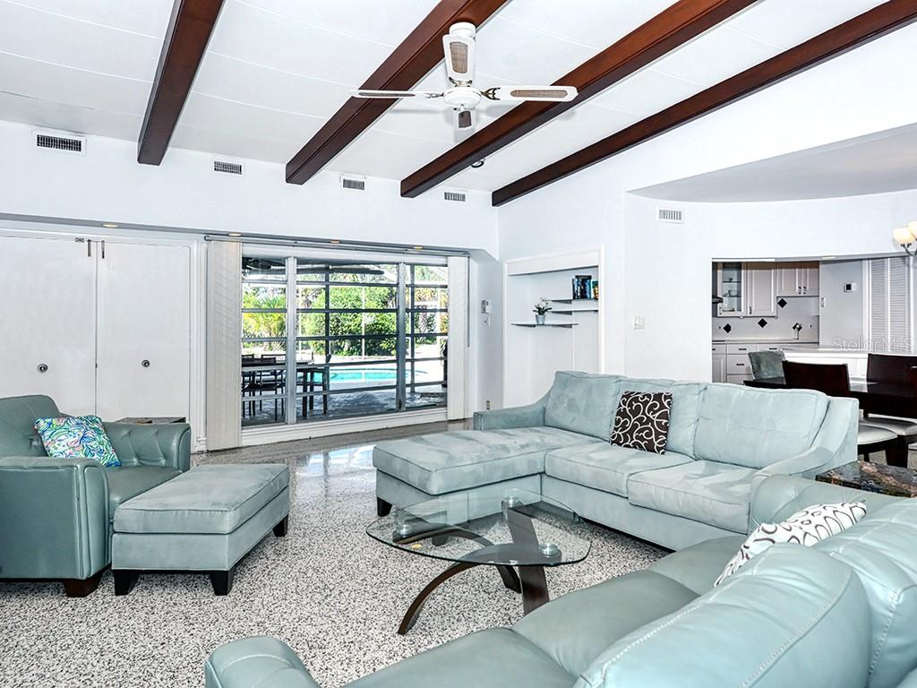 Living Room - Terrazzo Floors - Single Family Home for sale at 225 John Ringling Blvd, Sarasota, FL 34236 - MLS Number is A4443640