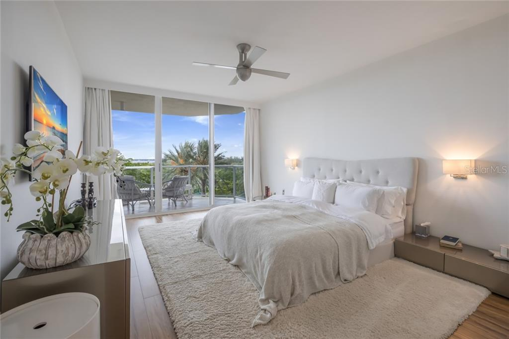 Master Bedroom with Bay & City views - Condo for sale at 1800 Benjamin Franklin Dr #b408, Sarasota, FL 34236 - MLS Number is A4444789