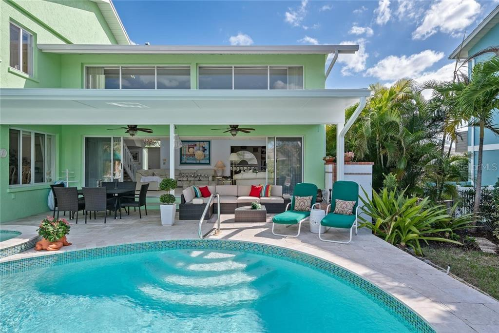 Pool and covered patio for dining al fresco! - Single Family Home for sale at 609 N Point Dr, Holmes Beach, FL 34217 - MLS Number is A4455659