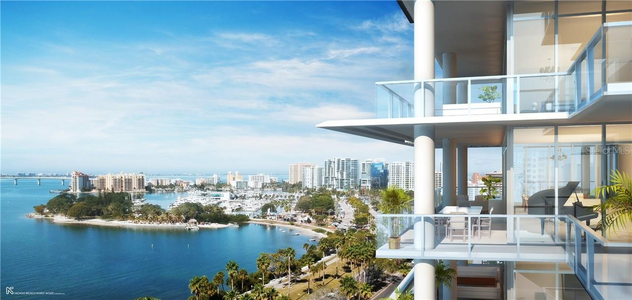 Forever views from floor-to-ceiling glass to the west, north and south from the oversized great room, kitchen, & owners' suite. - Condo for sale at 605 S Gulfstream Ave #Ph18, Sarasota, FL 34236 - MLS Number is A4458982