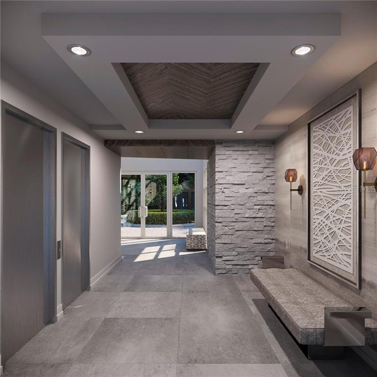 * new lobby rendering from garage looking on to front lobby entrance - Condo for sale at 500 S Palm Ave #102, Sarasota, FL 34236 - MLS Number is A4469606