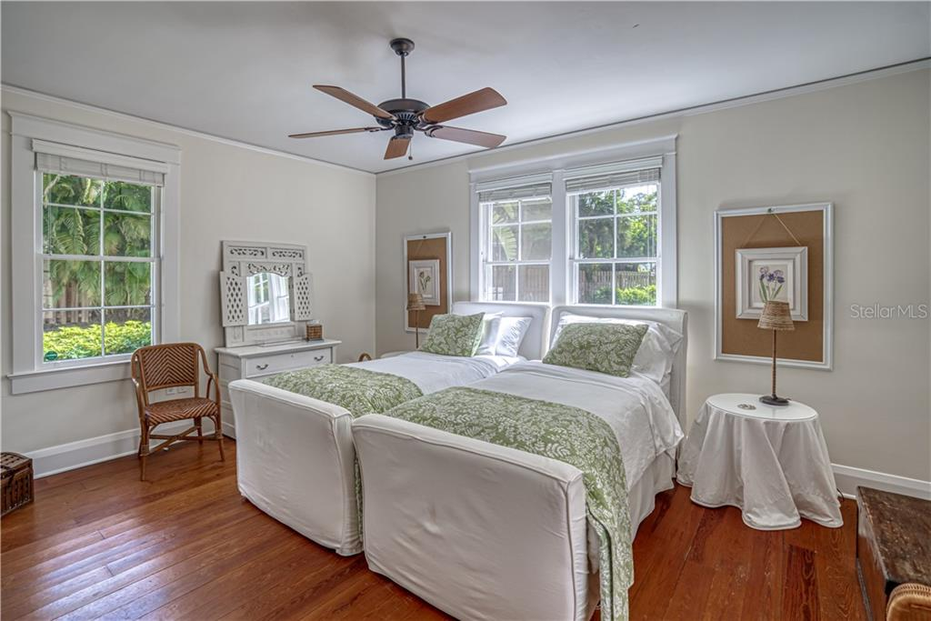First Floor Bedroom with Heart Pine Floors - Single Family Home for sale at 1595 Bay Point Dr, Sarasota, FL 34236 - MLS Number is A4479218