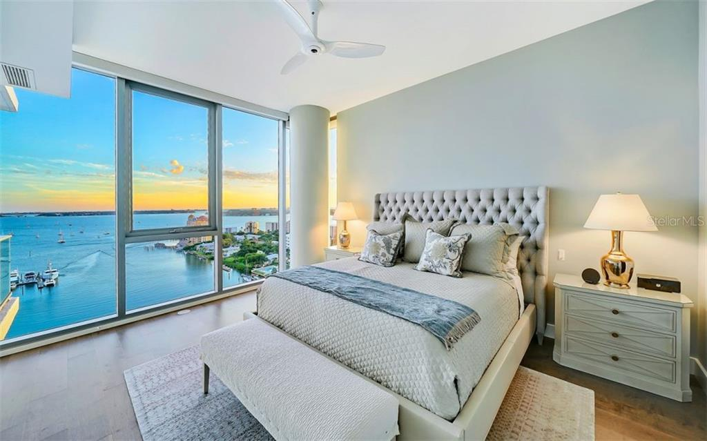 The master bedroom also has a spectacular view of the Bay - Condo for sale at 1155 N Gulfstream Ave #1701, Sarasota, FL 34236 - MLS Number is A4480090