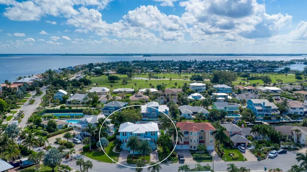 Aerial view of Key Royale. - Single Family Home for sale at 718 Key Royale Dr, Holmes Beach, FL 34217 - MLS Number is A4480381