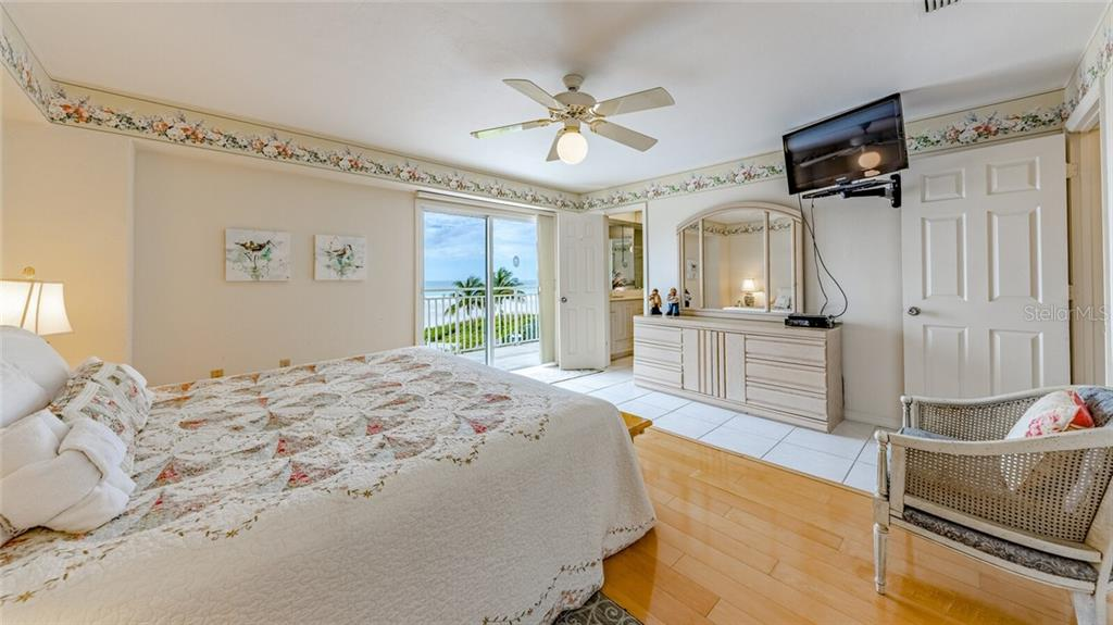 Mater Suite with Gulf view sliders to balcony - Condo for sale at 5830 Midnight Pass Rd #303, Sarasota, FL 34242 - MLS Number is A4481917