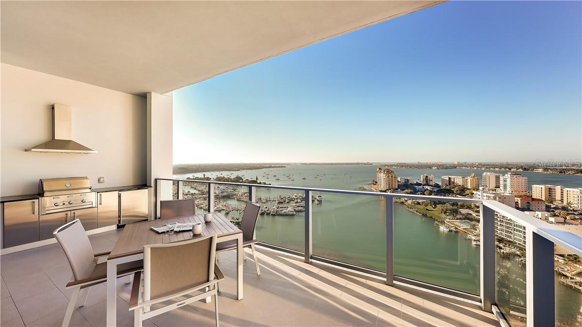 Gourmet Gas Grill and Refrigerator on Balcony #2 - Condo for sale at 1155 N Gulfstream Ave #1802, Sarasota, FL 34236 - MLS Number is A4485046