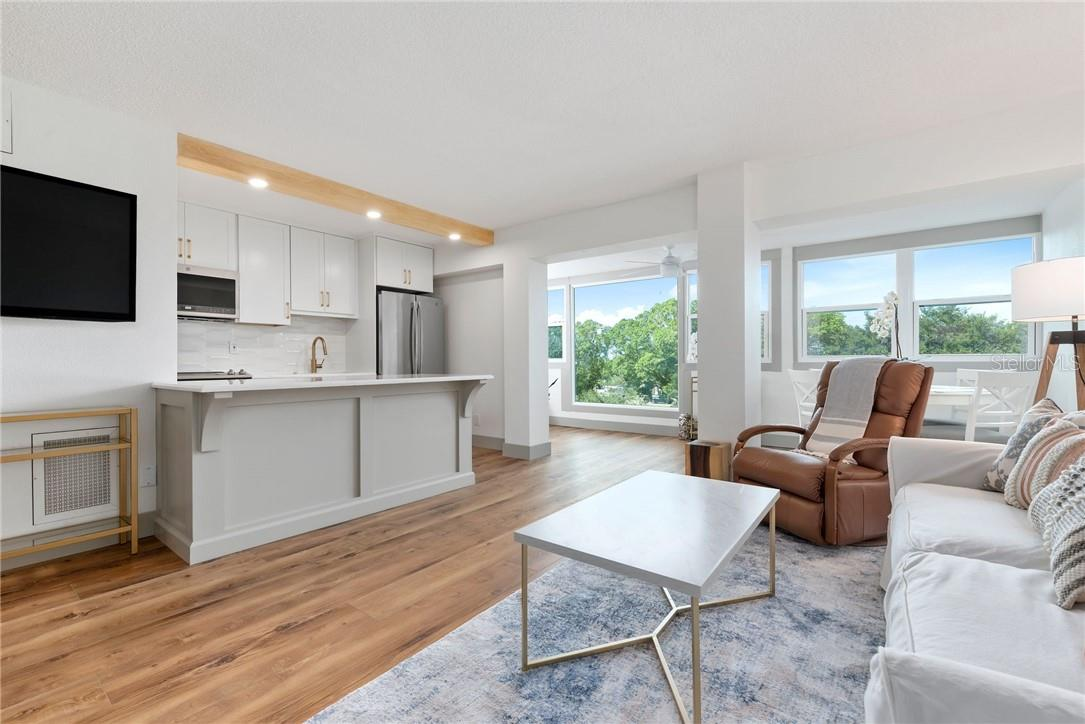Open Layout with Custom Kitchen, Luxury Vinyl Plank Flooring and Tons of Natural Light - Condo for sale at 33 S Gulfstream Ave #405, Sarasota, FL 34236 - MLS Number is A4489097