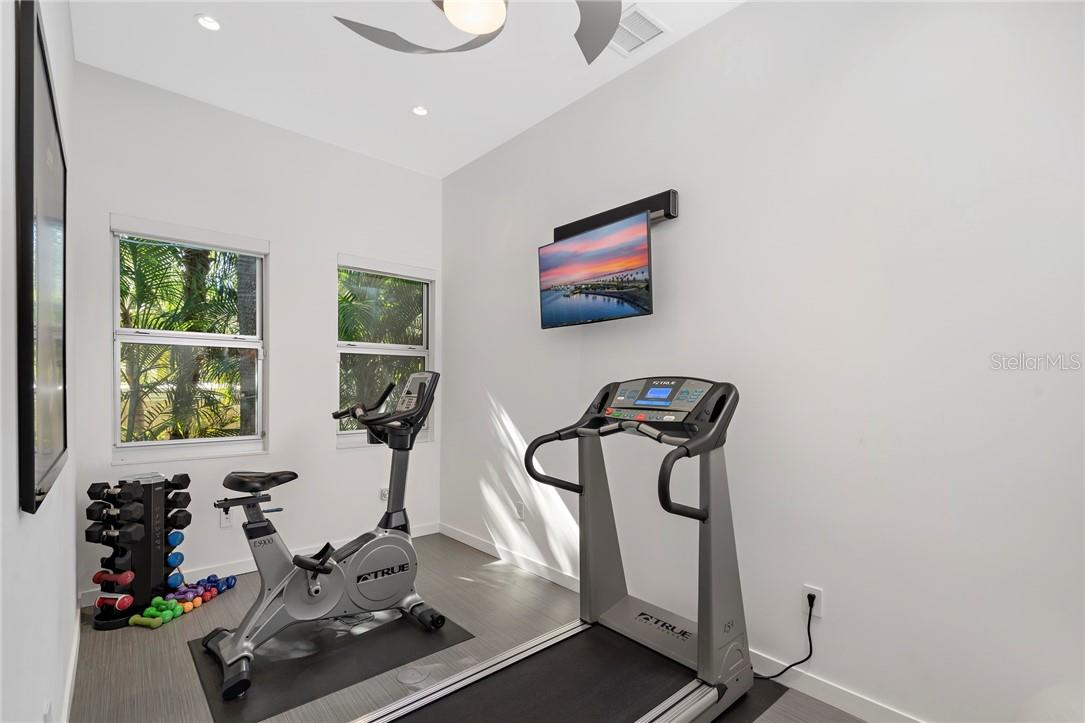Home Fitness Room -  with custom foam, water resistant flooring -Treadmill included - Single Family Home for sale at 2524 Pleasant Pl, Sarasota, FL 34239 - MLS Number is A4490046