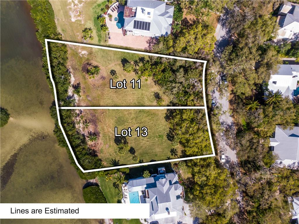 Estimated lines for Lot 11 and Lot 13 located in Fishermens Bay - Vacant Land for sale at 11 Fishermens Bay Dr, Sarasota, FL 34231 - MLS Number is A4493227
