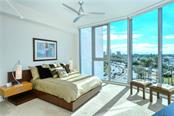 Master Bedroom with 10' floor to ceiling windows - Condo for sale at 1155 N Gulfstream Ave #507, Sarasota, FL 34236 - MLS Number is A4458926