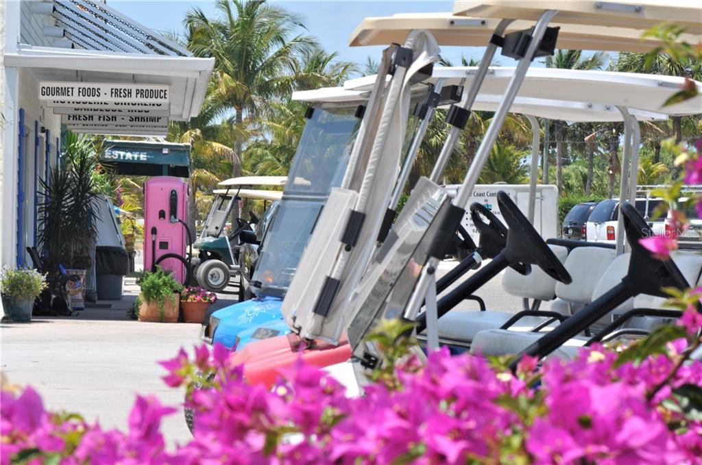 Golf carts lined up at Hudson's grocery - Single Family Home for sale at 1600 E Railroad Ave, Boca Grande, FL 33921 - MLS Number is D6108744