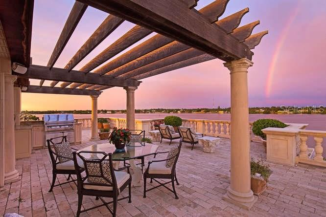 Roman Roof Garden looking towards Outdoor Kitchen & Blackburn Bay - Single Family Home for sale at 1492 Casey Key Rd, Nokomis, FL 34275 - MLS Number is A4189751